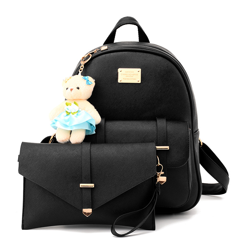 2pcs Backpack Set for Women Girls Trendy School bags and Envelope Shoulder Bags Faux Leather Student Daypack with Bear Rucksack in Backpacks from Luggage Bags
