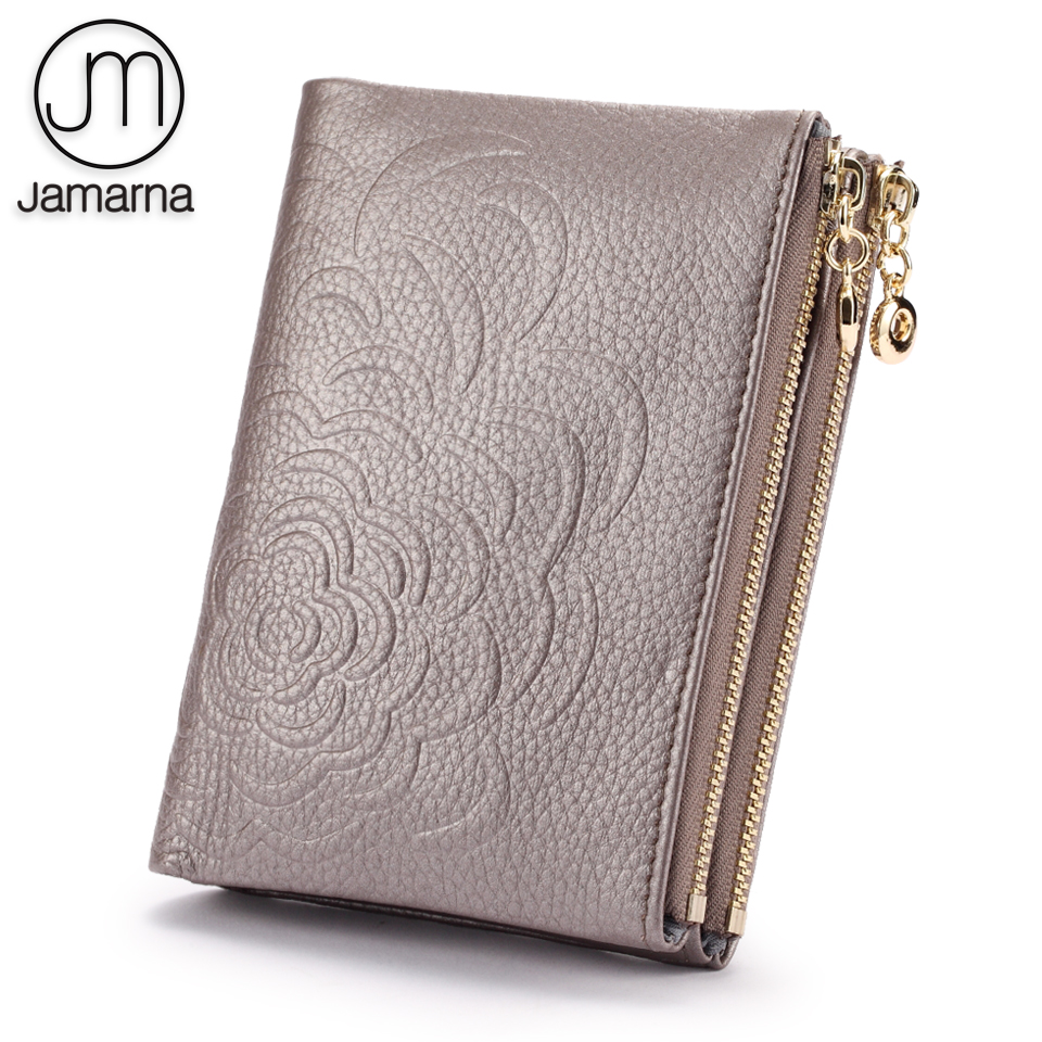 Jamarna Wallet Female Women Wallets With Zipper Genuine Leather Women Wallets Floral Pattern Coin Purse Card Holders все цены