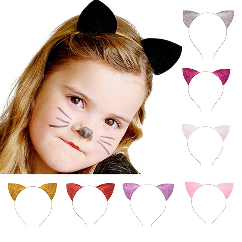 1PCS Cute Lovely Children Baby Cat Ears Headband Head Loop Sequins Halloween Cosplay Party Carnival Hair Band Accessories