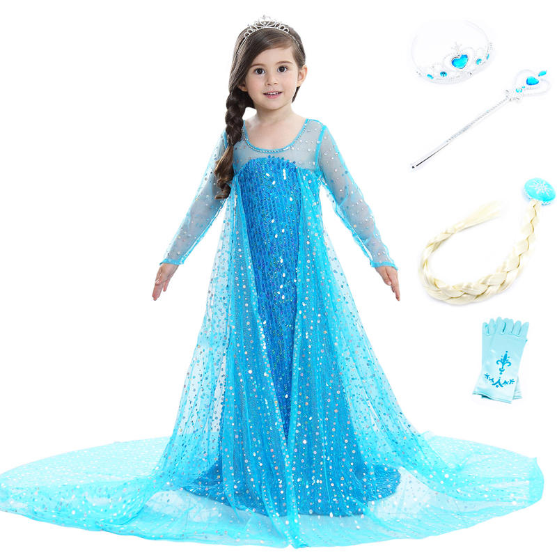 Elsa Dress Costume Cosplay Princess Girls Clothing Anna Snow Queen Sequins Tulle Dress with Cloak halloween Christmas Costume