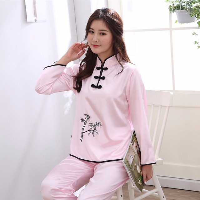 35036da5d5 Sexy Pink Ladies Satin Sleepwear Pajamas Set Chinese Women 2PCS Pyjamas  Suit Vintage Mandarin Collar Button Nightwear M-XXL