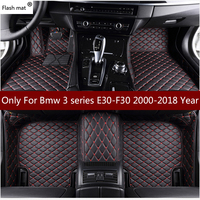 Flash mat leather car floor mats for Bmw 3 series E30_E36_E46_E90_E91_E92_E93_F30 2000 2018 Custom foot automobile carpet cover