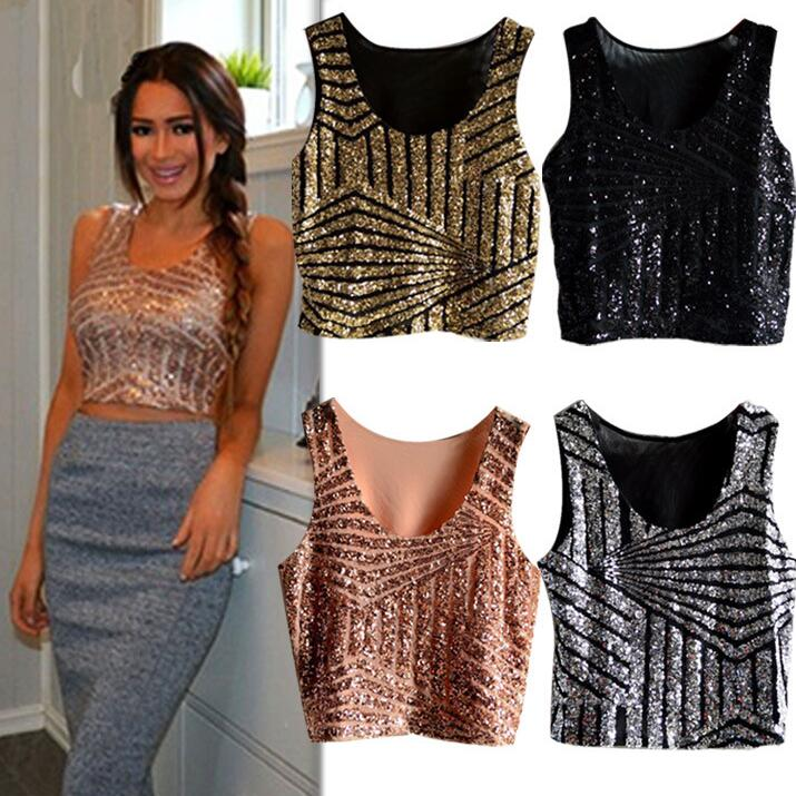 Summer Sparkly Women Crop Top Tank Sexy Lady Girls Glitter Sequin Lace Bustier Crop Top Top