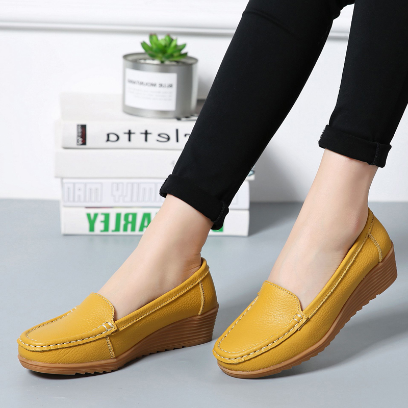 2018   Leather   Women Shoes Flats Colors footwear Loafers Slip On Women's Flat Shoes Moccasins