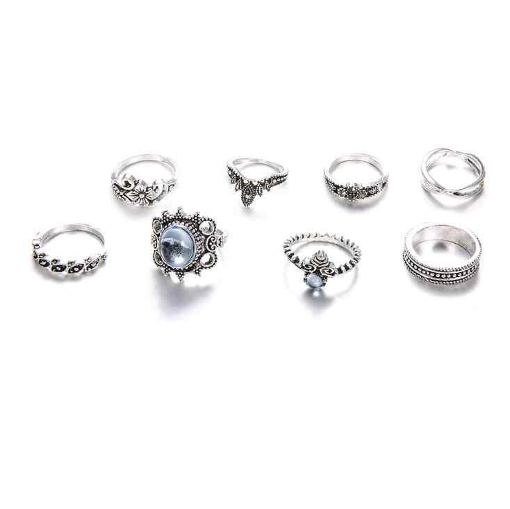 Alta qualidade 8 pçs do vintage amor lotus sol opala anéis de cristal conjunto anel para as mulheres coroa flor coração midi étnico boho festa jóias