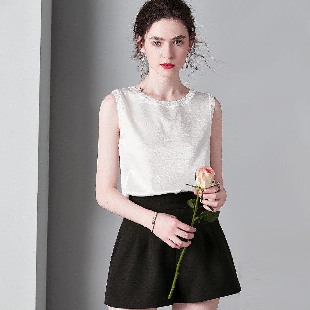 Gilet soie uni ete sans manche noir haut Sexy Cami chemise blanche Tee Shirt rose vetement femme débardeur femme Champagne pull ins