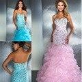 Elegante Azul Royal Rosa Sparkly Prom Vestidos de Festa Querida Sereia Evening Vestidos Fishtail Mermaid Organza Vestidos De Festa