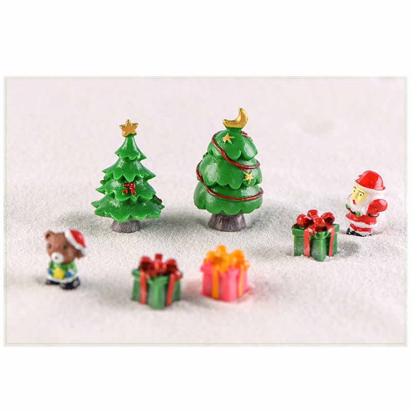 1 Pcs mini Christmas Tree Pink unicorn snow yellow duck Fairy Garden Plant Resin Craft Miniature Ornament gift