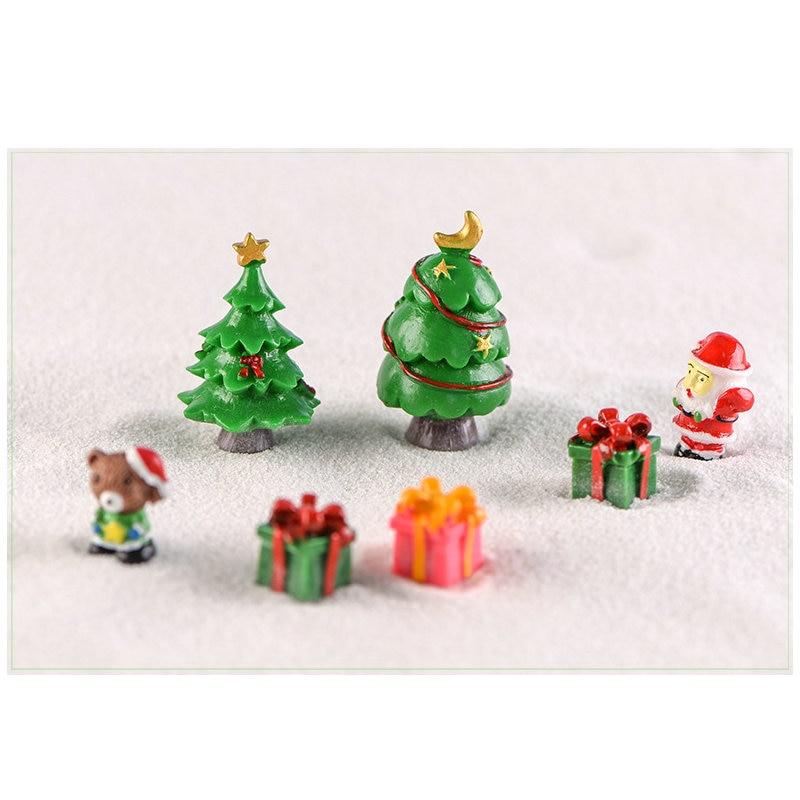 1 Pcs Mini Christmas Tree Pink Unicorn Snow Yellow Duck Fairy Garden Plant Resin Craft Miniature Ornament Gift