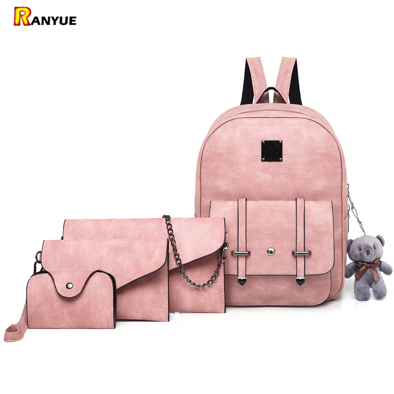 4Pcs/Set Fashion Composite Bag Pu Leather Backpack Women Backpack+Chain Shoulder Bag Purse Bear School Bags For Teenage Girls joypessie composite women backpack pu leather backpack for teenage girls female school backpack with shoulder purse