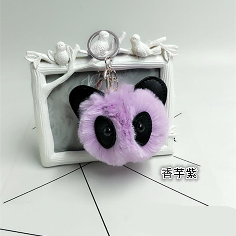 Fluffy Rabbit Fur Pom Pom Panda Keychain For Women Bunny Fur Pompon Ball Bear key chain pompom Bag Car Trinket keychain Gift in Key Chains from Jewelry Accessories