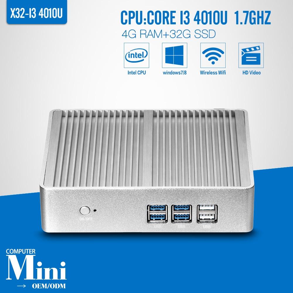 Diseño sin ventilador Core I3 4010U 4 G RAM 32 G SSD WIFI Mini PC de escritorio