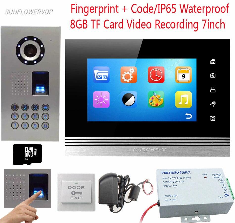 IP65 À Prova D' Água de Vídeo Telefone de Impressões Digitais/Code CCD Vídeo Porteiro Câmera Colorida 7