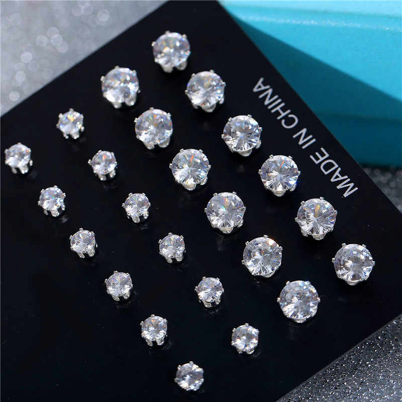 Bamos 12pairs/set White Round CZ Stud Earrings For Women 925 Silver Filled Piercing Earrings Set Jewelry Accessories 4/6MM