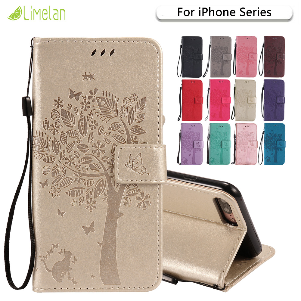Limelan For iPhone 6 6s 6Plus 6s Plus Leather Case Cat Tree PU Leather Flip Phone Case for iPhone 7 7Plus 5 5s SE 4 4S Shell Bag