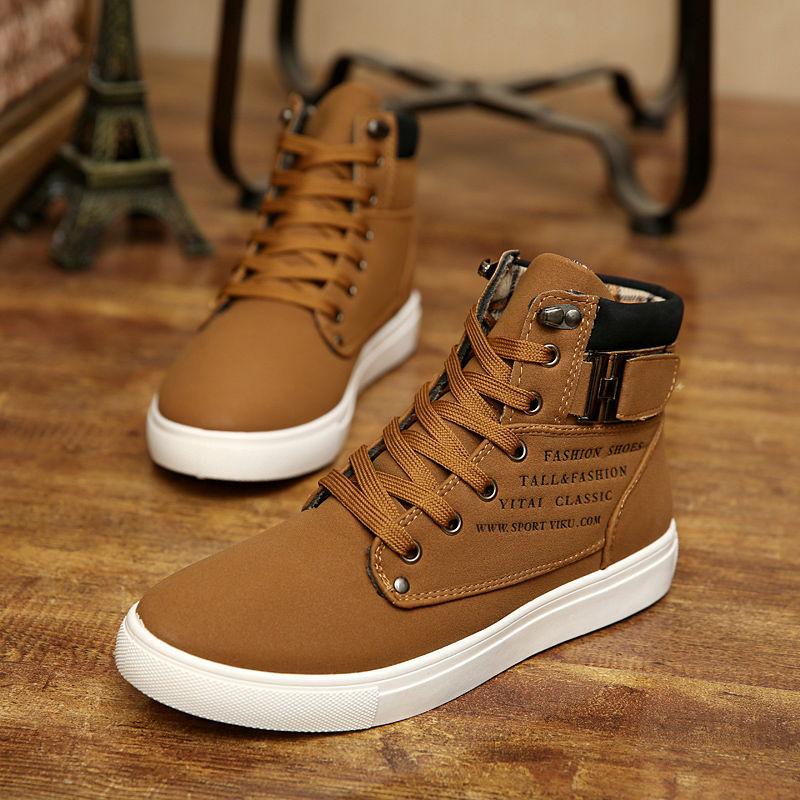 5cfc6b853c4 2015 hombres calientes zapatos Sapatos tenis masculino masculina moda otoño  invierno botas de piel de cuero para hombre lona superiores ocasionales de  los ...