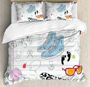 CHARM HOME Duvet Cover Set Design Star 4 Piece Bedding Set