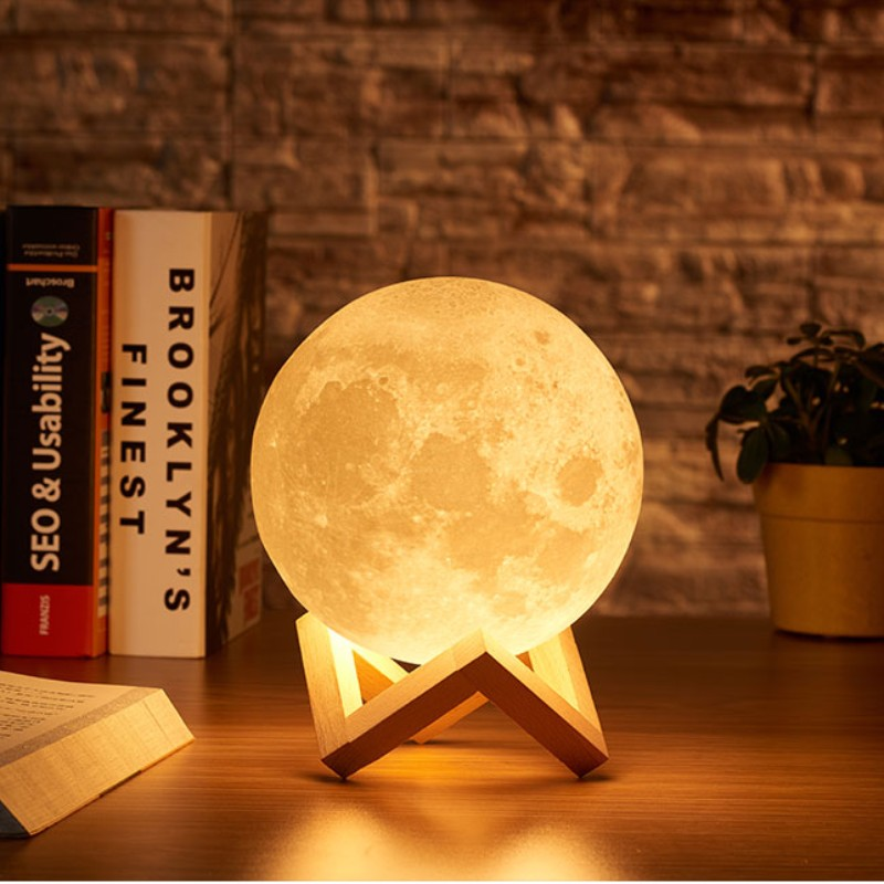 Moon lamp 3D print night light Rechargeable 3 Color Tap Control lamp lights 16 Colors Change Remote LED moon light romantic gift