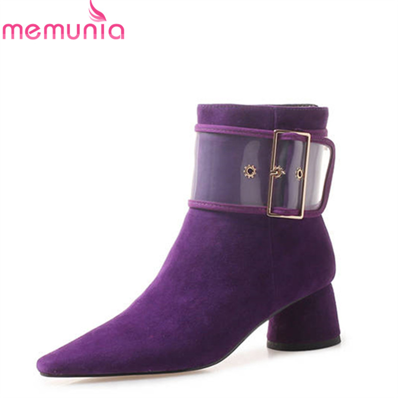 MEMUNIA 2018 top quality suede leather ankle boots women zipper autumn high heels boots square toe fashion shoes woman enmayla fashion front zipper ankle boots women chucky heels square toe high heels shoes woman black yellow suede autumn boots