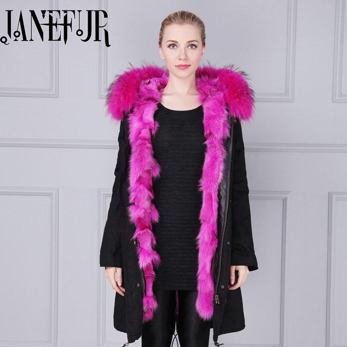 цена Winter Jacket Women 2017 Brand Luxry Large Natural Raccoon Fur With Real Fox Fur Liner Thick Warm Down Parka Outwear онлайн в 2017 году