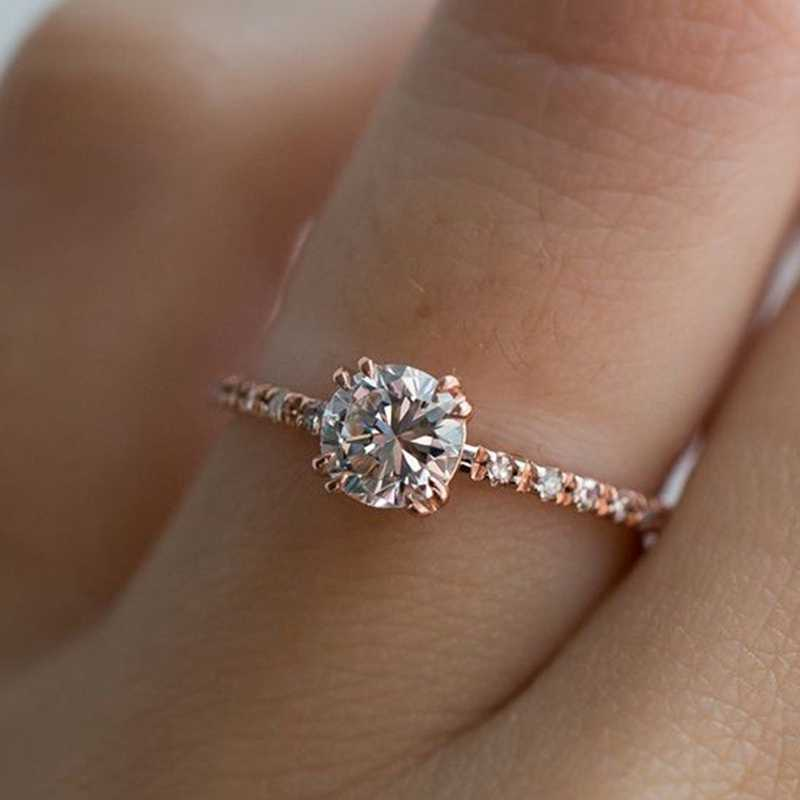 Hearts Clear Cubic Zircon Bling Rose Gold Silver Women Ring Wedding Band Female Finger Ring Engagement Party