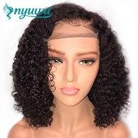 NYUWA Короткие 13x6 Синтетические волосы на кружеве человеческих волос парики предварительно сорвал с ребенком вьющиеся волосы бразильский Во
