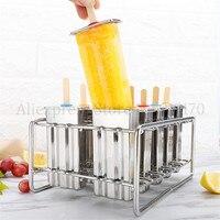 Molde de helado de acero inoxidable molde de helado soporte de palo plata verano casa DIY moldes de helado 6 piezas /lote