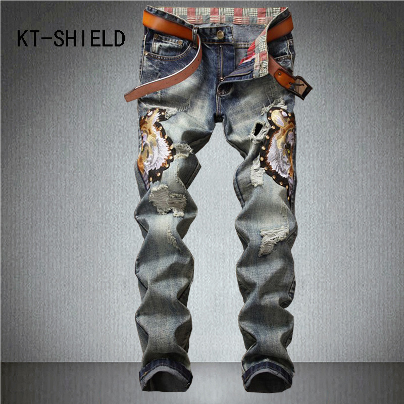 Hip hop men jeans cargo pants brand distressed ripped biker embroidery Print Casual man denim straight trousers vaqueros Hombre mens casual elastic ripped drape denim hip hop slim fit distressed biker jeans pants black straight pencil trousers multi zipper