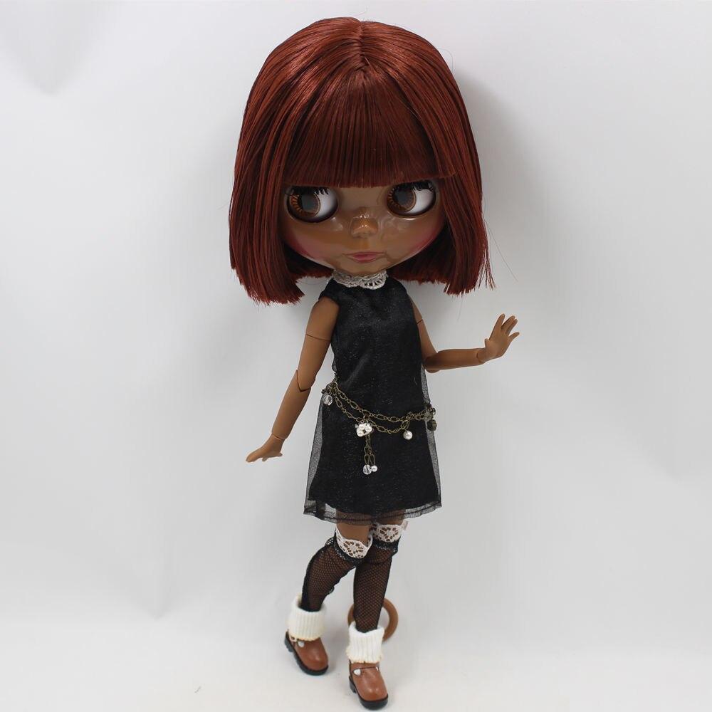 Nue Blyth poupée brun cheveux courts avec frange Super noir joint corps blyth bjd 1/6 poupée modèle bricolage jouets