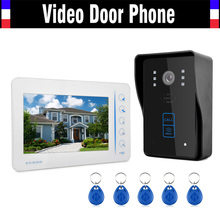 7″ Touch LCD Monitor Video Door Phone Intercom Video Doorbell System with 5 PCS RFID Keyfobs Support 4 Channel CCTV Camera