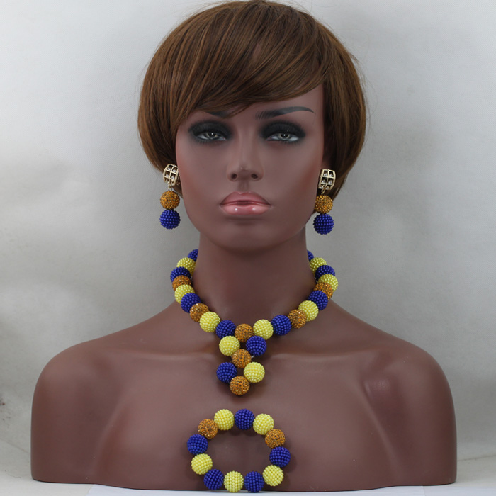 Mix Royal Blue Yellow Plastic Balls Choker Necklaces Set Women Nigerian Wedding African Beads Jewlery Set Free ShippingABL813