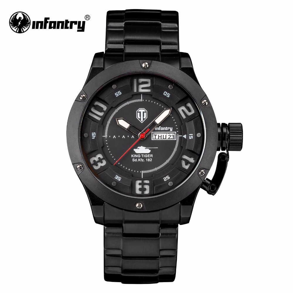 INFANTRY Montre Homme 2017 Mens Watches Top Brand Luxury Analog Display Stainless Steel Watches Men Quartz-Watch World of Tanks women ankle boots medium heel genuine leather booties vintage thick suede round toe chunky shoes slip on platform brown fall