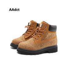 AAdct botas con diamantes de imitación para niñas, botines infantiles de alta calidad, botas de princesa que combinan con todo