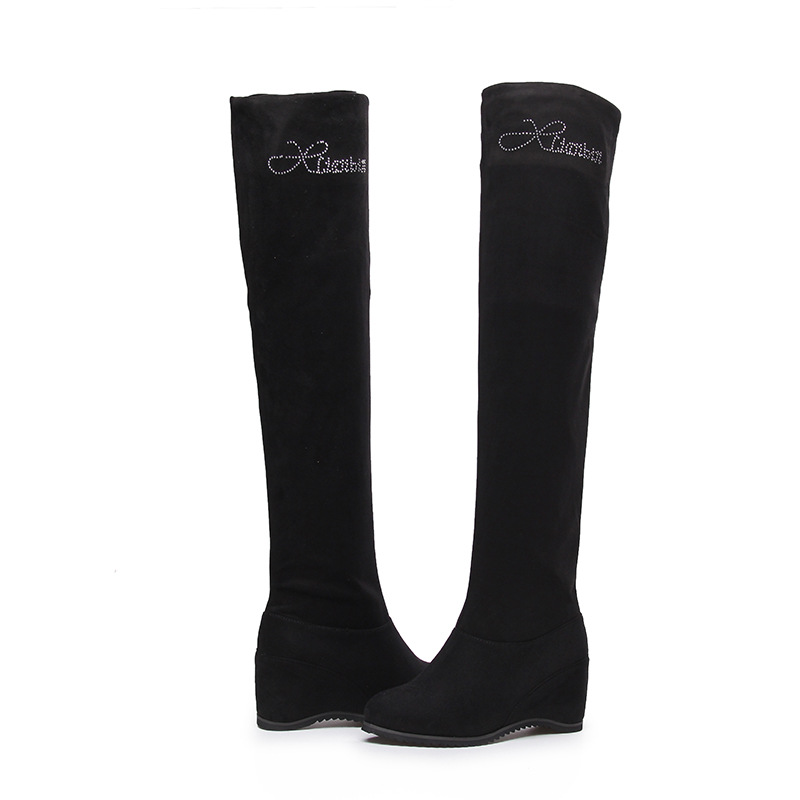 New autumn and winter long boots within the slope with knee boots women boots stovepipe stretch boots
