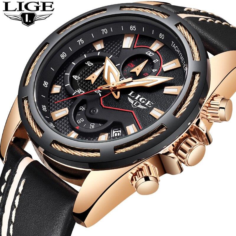 LIGE Chronograph Men Watch Relogio Masculino Black Leather Business Quartz Watch Clock Men Creative Army Military Wrist Watches недорого