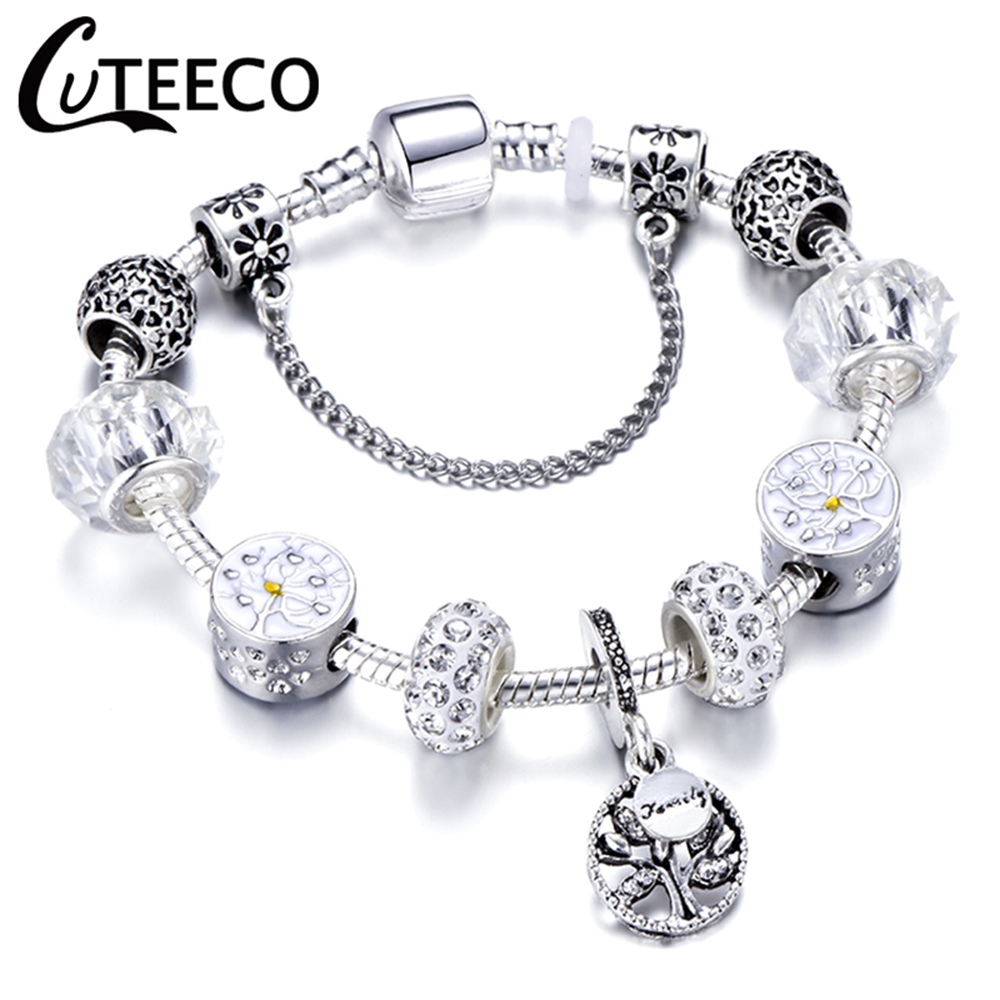 CUTEECO 925 Fashion Silver Charms Bracelet Bangle For Women Crystal Flower Fairy Bead Fit Brand Bracelets Jewelry Pulseras Mujer 5