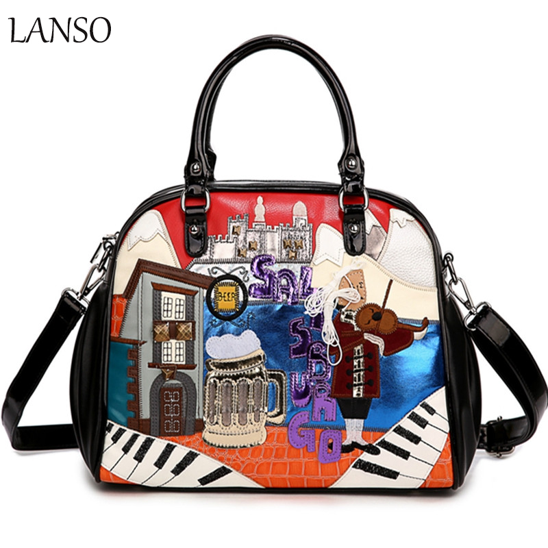 Здесь продается  New Embroidered Lady Bag Large Capacity Handbag Printing Cute Cartoon Portable Messenger Bag Ladies Portable Office Shoulder Bag  Камера и Сумки