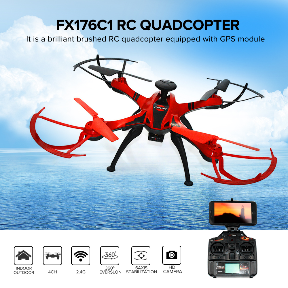 FX176C1 RC Quadcopter Drone With Camera HD Remote Control Helicopter Camera GPS Rc Drone With 2MP Camera Brushed rc Quadcopter