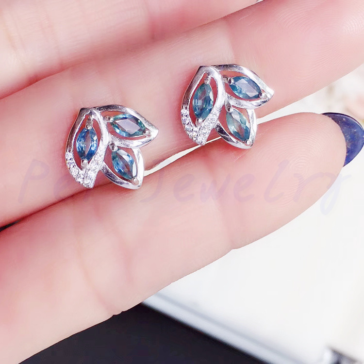 e144e4281 Aliexpress.com : Buy Natural sapphire stud earring Free shipping Real  origin sapphire 925 sterling silver Fine jewelry 0.15ct*6pcs gems  #T18102201 from ...