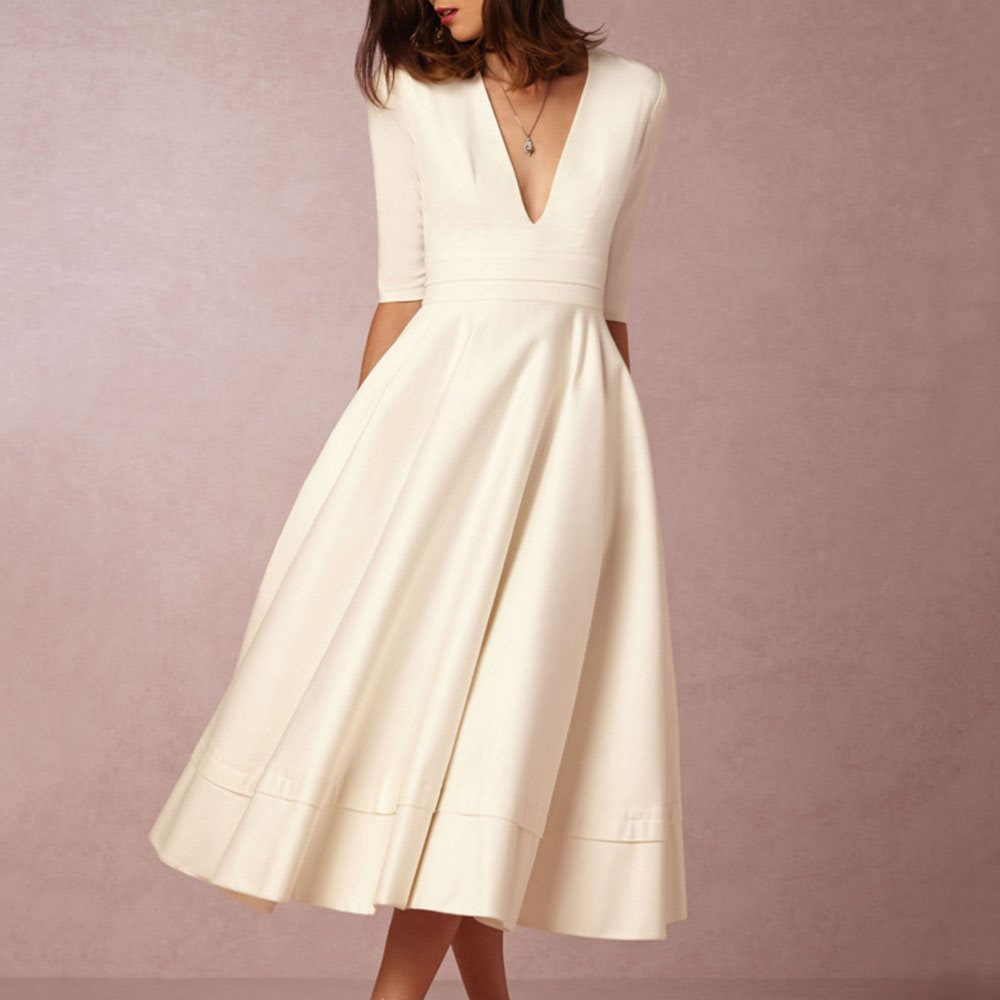 White <font><b>Dress</b></font> <font><b>Vintage</b></font> Women Deep V <font><b>Sexy</b></font> Pleated Plain Red Blue Simple Fashion Street Basic Elegant Party Casual Swing Midi <font><b>Dresses</b></font> image