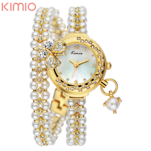 2016 Кимио Модный бренд Женщины Аналоговый Кварцевые Часы Роскошные Дамы Перл Кристалл Наручные Часы Relojes Mujer Montre Femme K505