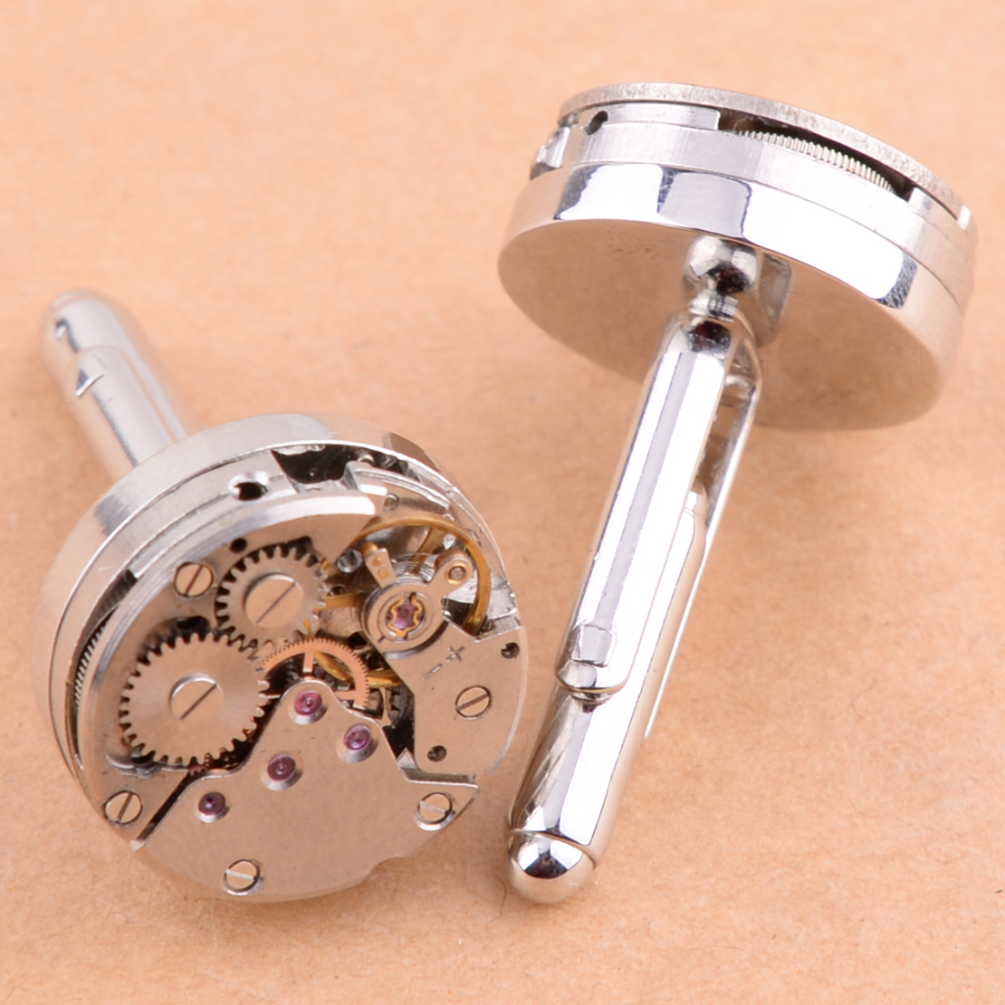 New 2Pcs Watch Movement Cufflinks Mens For Immovable Steampunk Gear Watch Mechanism Cuff Links