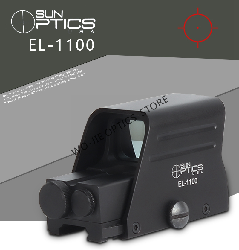 Spike Matt Black Tactical EL-1100 Holographic Reflex Red Green Dot Sight Outdoor Hunting Sight Scope Brightness Adjustable