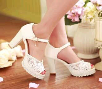 Awesome Cutout Thick Heel Small Yards 32 Princess Shoes Plus Size 42 43 Womenu0027s  Female High Heeled Sandals Open Toe Wedding Shoes In Womenu0027s Pumps From  Shoes On ...