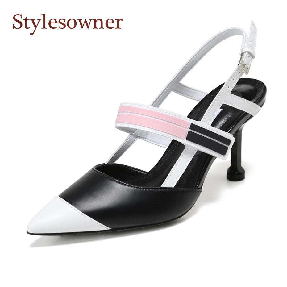 Stylesowner fashion mixed color runway style women pumps sexy lady pointed toe thin heel hollow sandals females gladiator shoes new genuine leather superstar solid thick heel zipper gladiator women pumps pointed toe office lady nude runway casual shoes l88