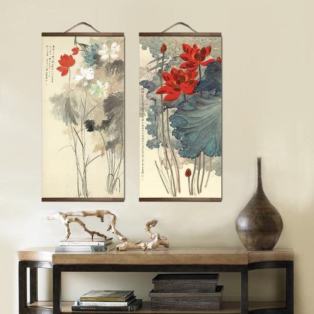 peinture-chinoise-tableau-et-cadre-décoration-florale-artetdeco-