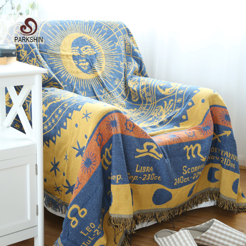 Parkshin High Quality Blanket 100% Cotton Sun God Knitted Bedspread For Sofa/Bed/Home 130cmX180cm Blanket