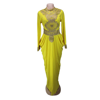 2017 African Big Elastic Party Embroidery Lace Sexy Dress For Women Fashion Design Lady (GL01#) - Yellow, L