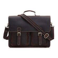YISHEN Crazy Horse Genuine Leather Vintage Men Laptop Case Large Capacity Business Male Briefcase Men Shoulder Handbag MS9006