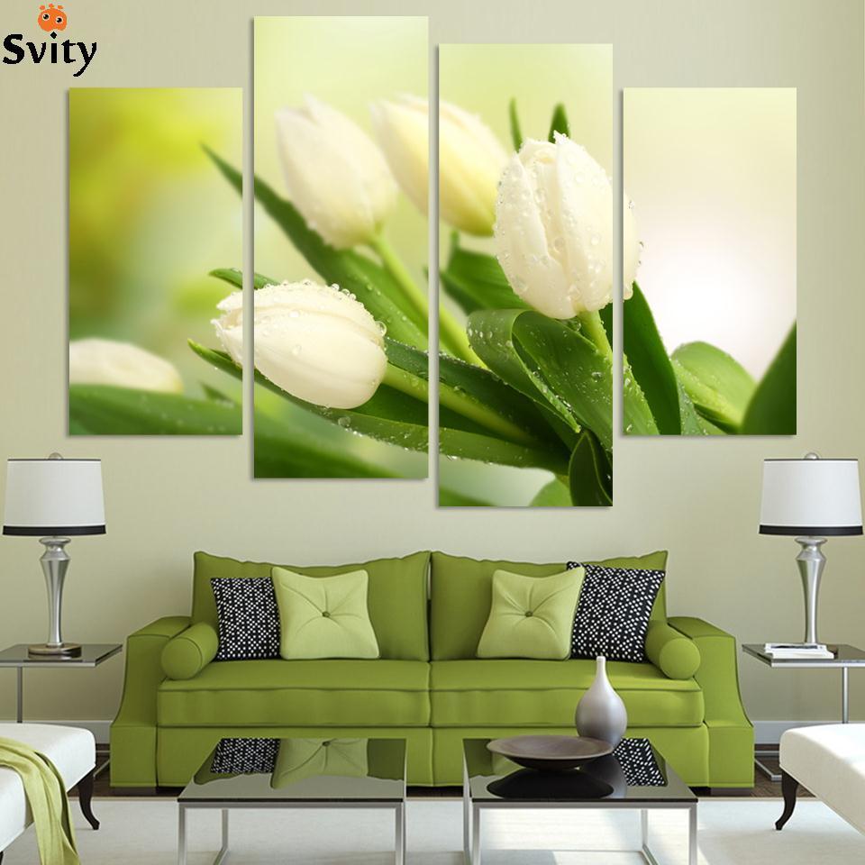 4 panely za horka prodáváme moderní nástěnné malby domů dekorativní umění malby na plátně okouzlující bílý tulipán